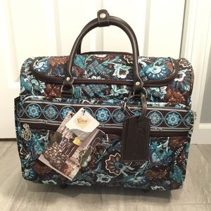 "NWT Vera Bradley 17"" Rolling Travel Tote Java Blue"